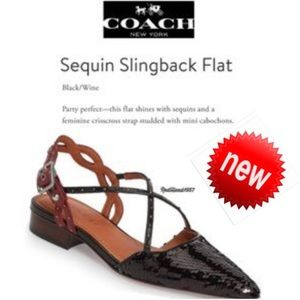 Coach Flats With Sequins SlingBack 9.5 NWOB 👠